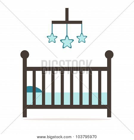 Crib isolated icon. Wooden cot on white background.