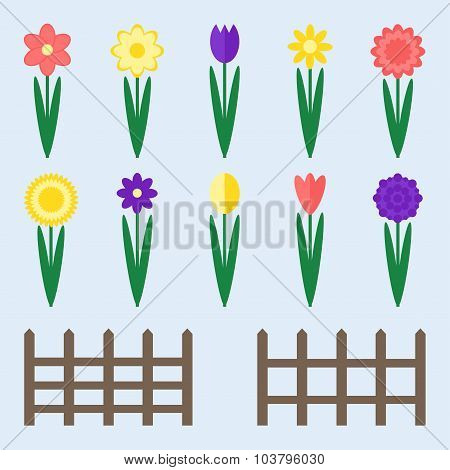 Garden flowers set. Ten isolated flower icons with fence.