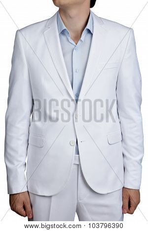 Light Blue Pastel Male Wedding Costume, Blazer And Pants, Isolated.