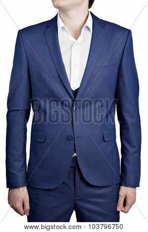 Navy blue checkered suit jacket on prom night for man.