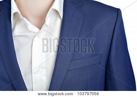 Closeup Fragment Of Suit Jacket On Prom Night For Man.