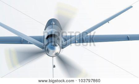 Drone UAV in flight, back view, 3D illustration