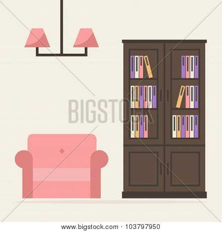 Bookcase with armchair and lamp.