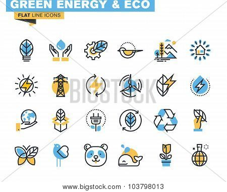Flat line icons set of green technology