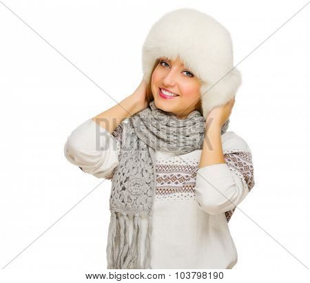 Young smiling girl with sweater  isolated