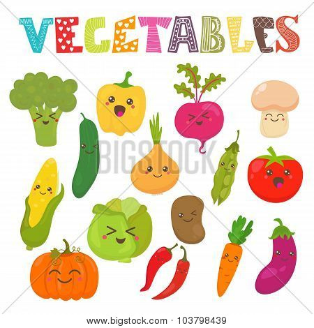 Cute Kawaii Smiling Vegetables. Healthy Style Collection