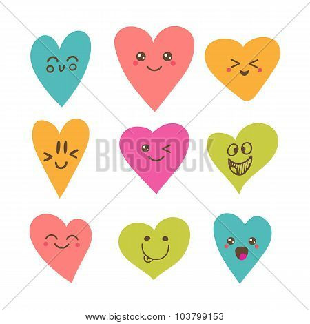 Funny Happy Smiley Hearts. Cute Cartoon Characters. Bright Vector Set Of Heart Icons. Creative Hand