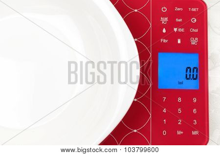 Blank White Dish On Electronic Kitchen Scales