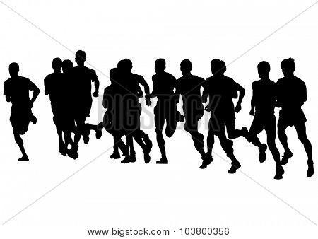 Athletes on running race on white background