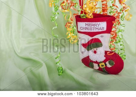 Merry Christmas Stock With Green Background