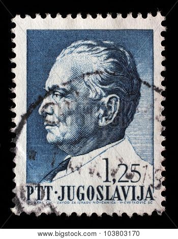 YUGOSLAVIA - CIRCA 1967: Stamp printed in Yugoslavia shows a portrait of Yugoslavian President Josip Broz Tito, from series 75th birthday of President Josip Broz Tito, circa 1967