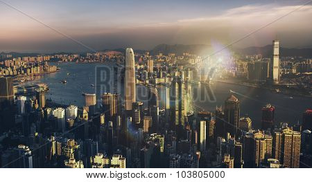 Hong Kong Sunset Victoria Habor View Concept