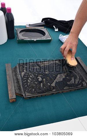 Traditional woodcut  black ink printing in Korea