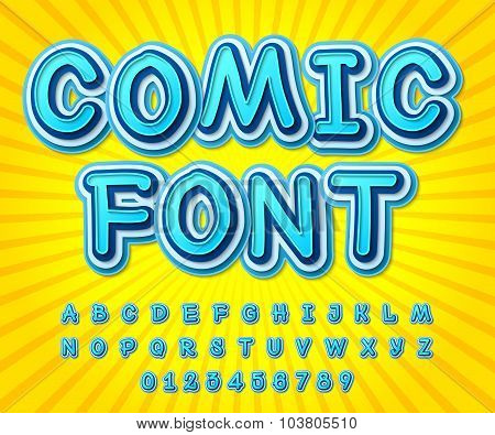 Blue High Detail Comic Font, Alphabet. Comics, Pop Art