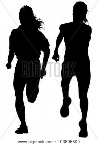 Woman athletes running race on white background