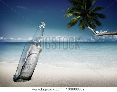 Message Bottle Beach Sending Information Letter Concept