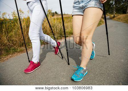 Nordic walking - women working out