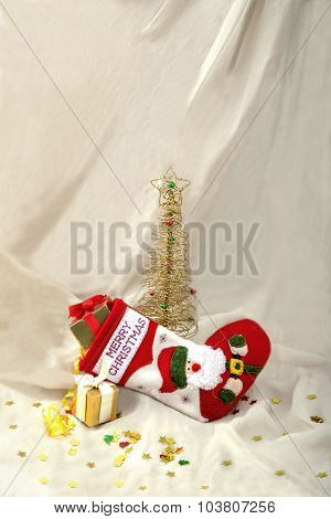 Card New Year Metallic Fir And Stock,gifts