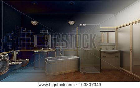 render of a modern bathroom interior design