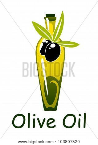 Yellow olive oil bottle with fruits and leaves