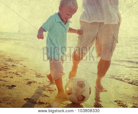 Father Son Playful Recreation Soccer Concept