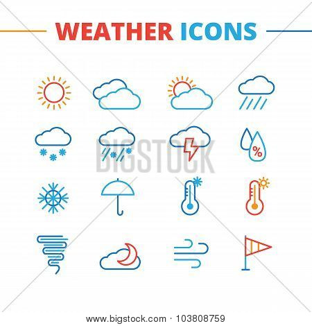 Vector trendy weather icons set. Minimalistic line style symbols collection