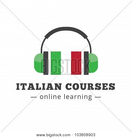Vector italian courses logo concept with flag and headphones