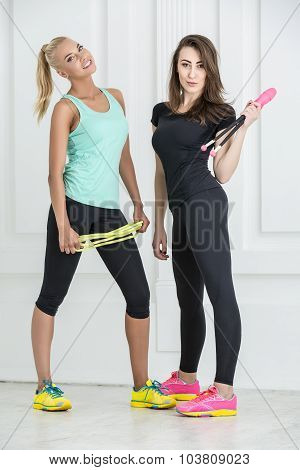 Two cute girls athletic
