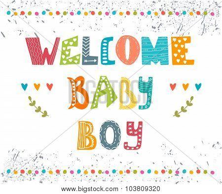 Welcome Baby Boy. Baby Boy Arrival Postcard. Baby Boy Cute Shower Card