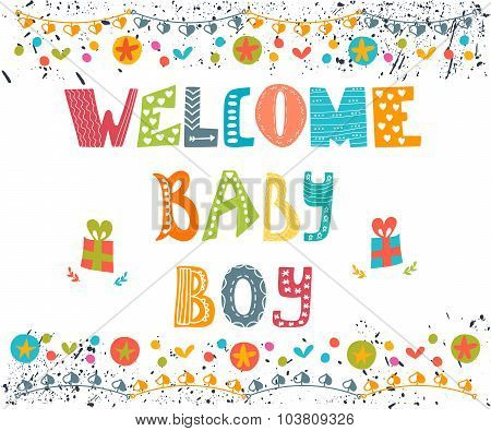 Welcome Baby Boy. Baby Boy Arrival Postcard. Baby Boy Shower Card