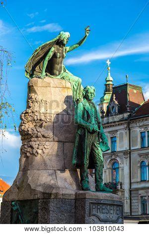 Sculpture Of Poet Preseren In Ljubljana