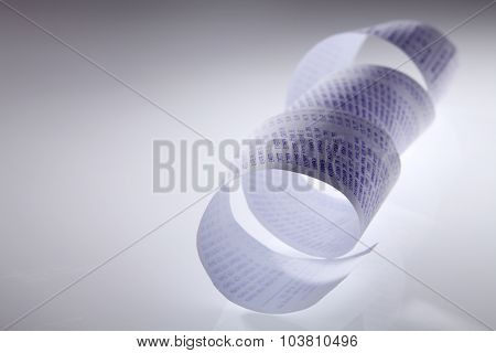 long curve shopping receipt on the white background