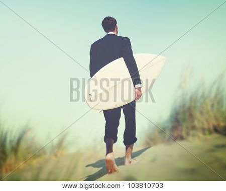 Businessman Surfboard Beach Summer Tropical Vacation Concept