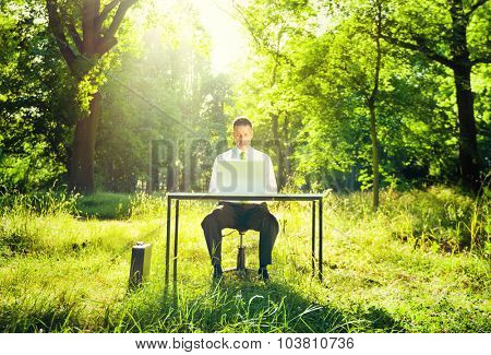 Businessman Working Computer Forest Green Concept