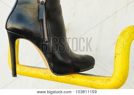 Woman Legs In Stylish Heels Shoes Outdoor