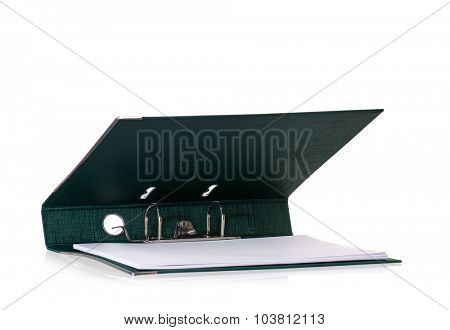 Single green file folder, isolated on white background