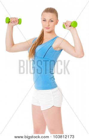 Portrait of fitness woman with dumbbells, isolated on white background