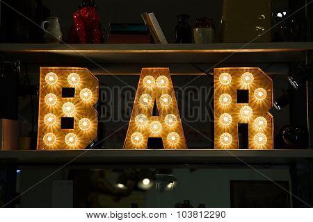 Bar sign made of light
