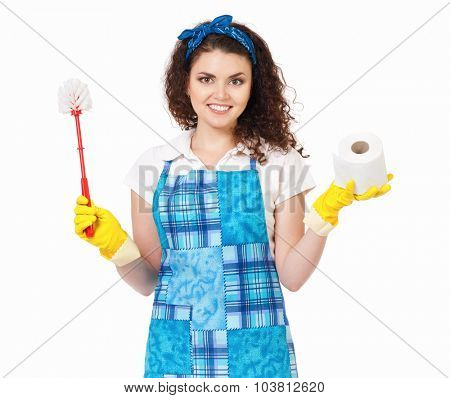 Young housewife with yellow gloves, toilet brush and paper, isolated on white background