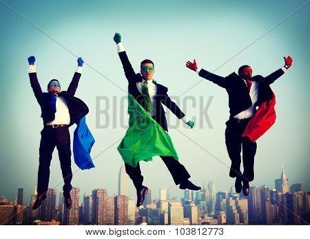 Superheroes Businessmen Flying Inspiration Concept