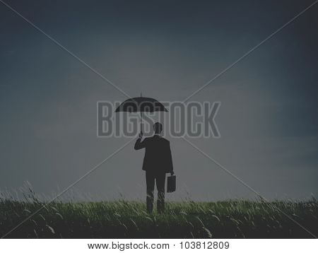 Businessman Standing Umbrella Grass Concept
