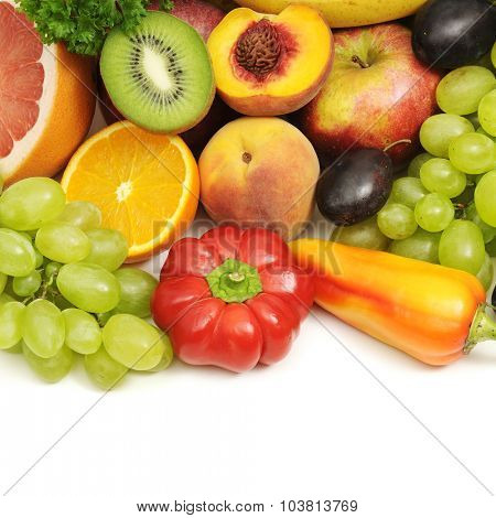 collection fruits and vegetables isolated on white