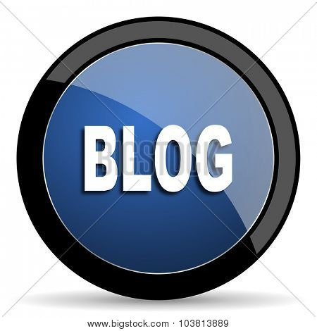 blog blue circle glossy web icon on white background, round button for internet and mobile app