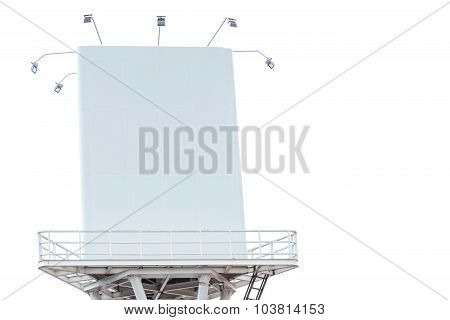 Big Blank White Billboard For Advertising Isolated On White