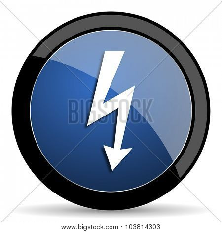bolt blue circle glossy web icon on white background, round button for internet and mobile app