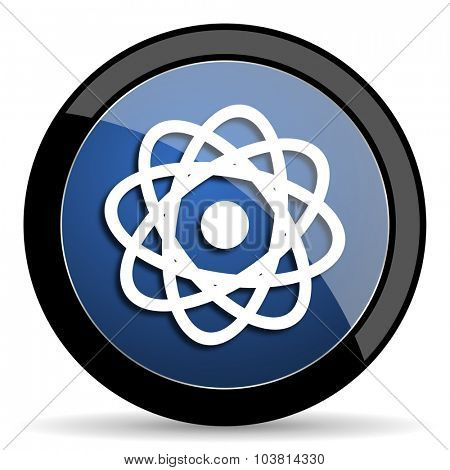 atom blue circle glossy web icon on white background, round button for internet and mobile app