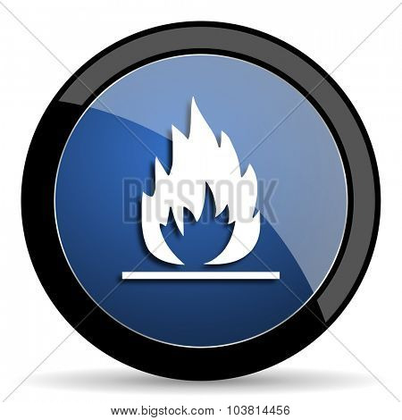 flame blue circle glossy web icon on white background, round button for internet and mobile app