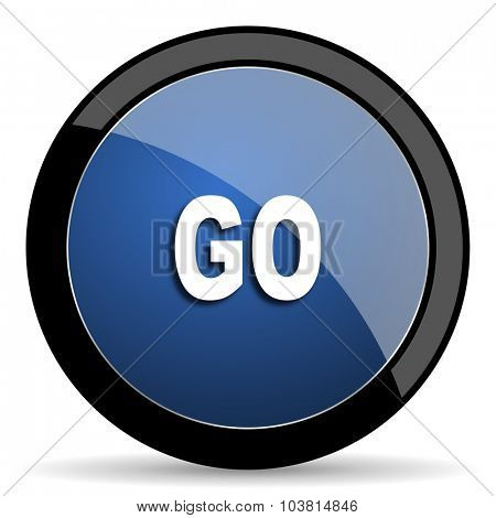 go blue circle glossy web icon on white background, round button for internet and mobile app