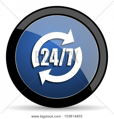 service blue circle glossy web icon on white background, round button for internet and mobile app