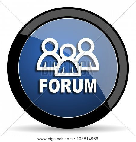 forum blue circle glossy web icon on white background, round button for internet and mobile app